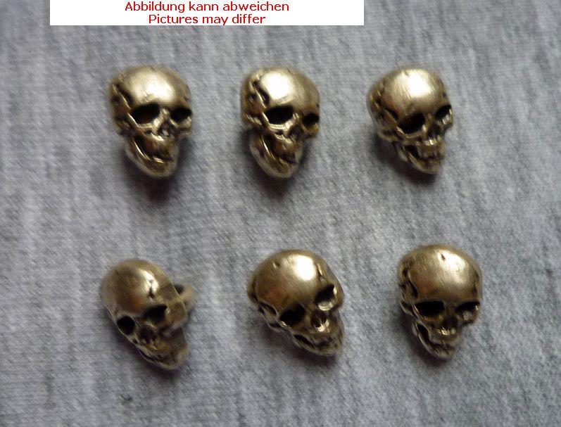 1 Totenkopf Metall mit Öse 15 mm altmessing