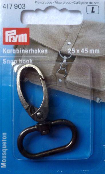 Prym Karabinerhaken 25 x 45 mm altsilber 1 Stück 417903