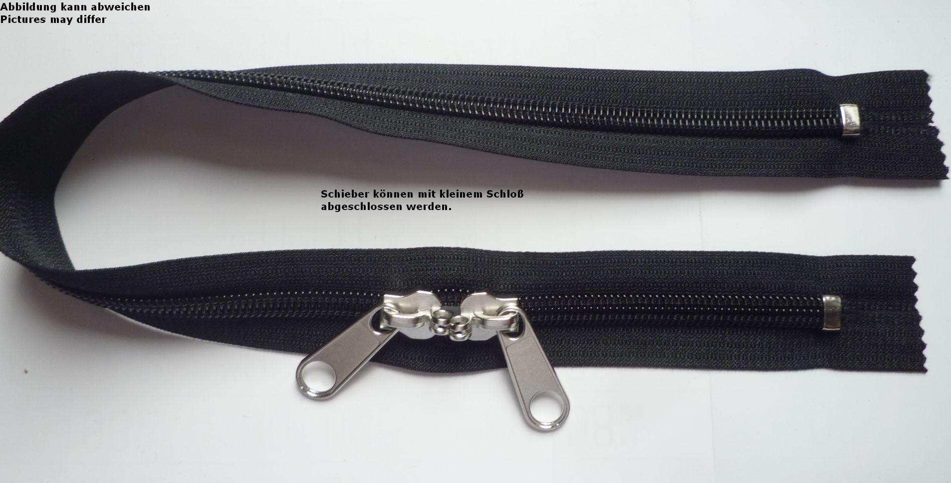 Reißverschluss für Rucksäcke Zelte dunkelblau 80cm lang 5mm Spirale 2 Schieber